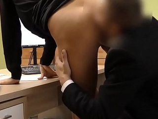 Loan4k. Blonde hottie with pigtail is owned by loan manager for cash