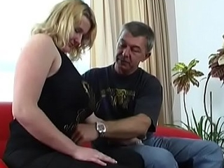 Foxy blonde darling Gabby with arresting natural tits gets the prick