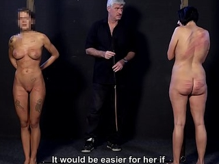 Cruel master whipping his slave girls