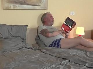 Teen blonde loves 69, suck and fucking grandpa