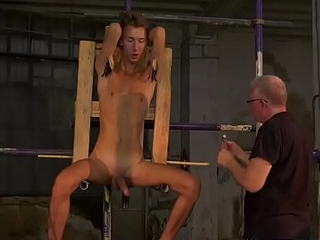 Twink sub Jay McDally restrained for torment by maledom