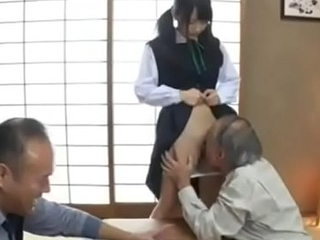 Grandpa enjoys school girl pussy for the first time