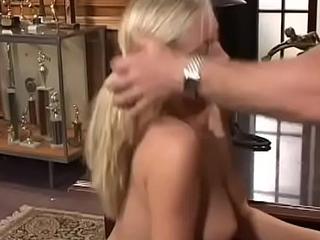 Mischievous blonde miss Lena enjoys a wet session