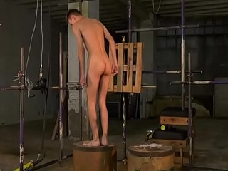 Wasting away twink Jay McDally tormented with blowjob in bondage