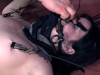 Submissive vest-pocket-sized beauty ball-gagged and toyed