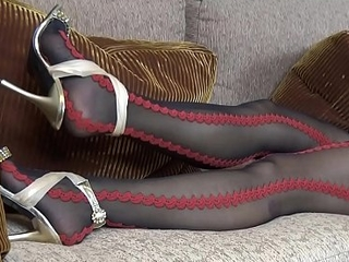 Monica down in the mouth red and black pantyhose preview brisk glaze at latinapantyhose.tv