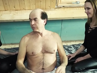 Yoke young girls suck old man cock and have super hot sweaty sex approximately grandpa cock
