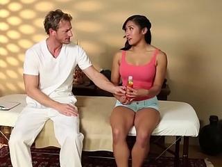 Busty oriental teen fucked by unpredictable intensify massagist